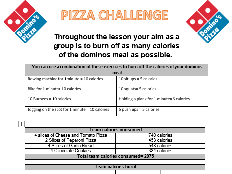 Pizza fitness challenge