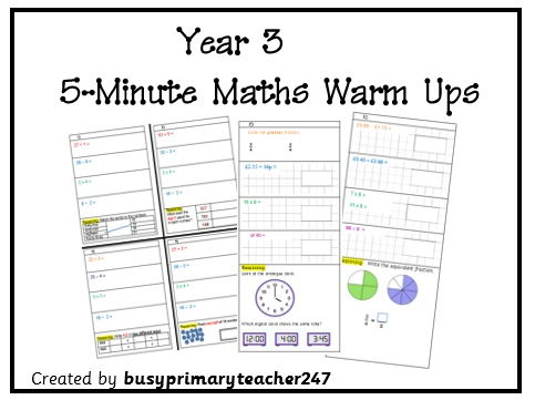 Year 3, 5 minute warm up tasks with all four operations and reasoning week 8
