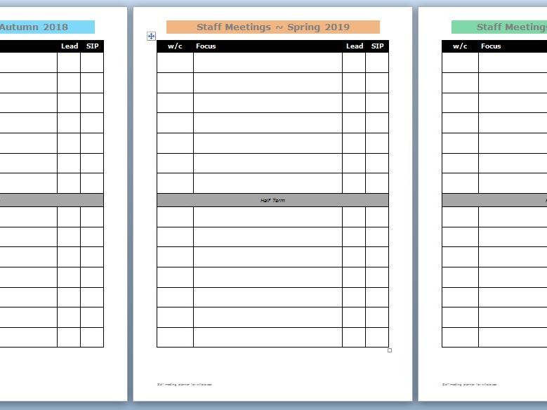 Staff meetings planner for the whole year