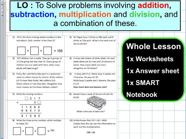 Four Operations mixed multiplication division subtraction addition- ks2 year 5 & 6 - WHOLE LESSON