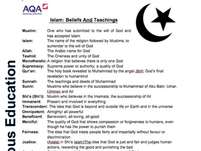 AQA Religious Education Glossary Spec A