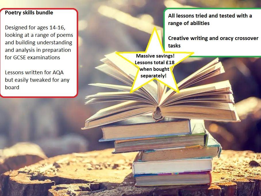 Poetry: full scheme of work, range of poems for GCSE/KS3
