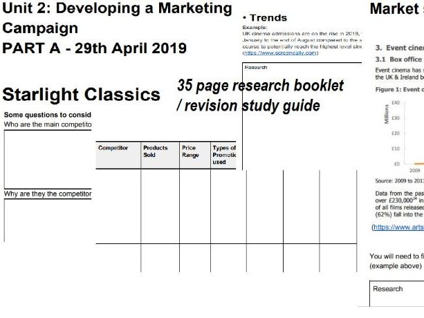 Starlight Classics Unit 2 Developing a Marketing Campaign research booklet revision guide April 2019
