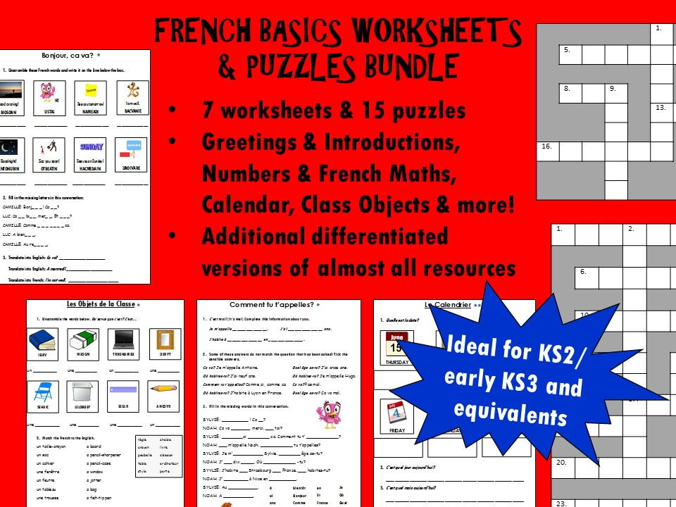French Basics Bundle (Worksheets / Puzzles)