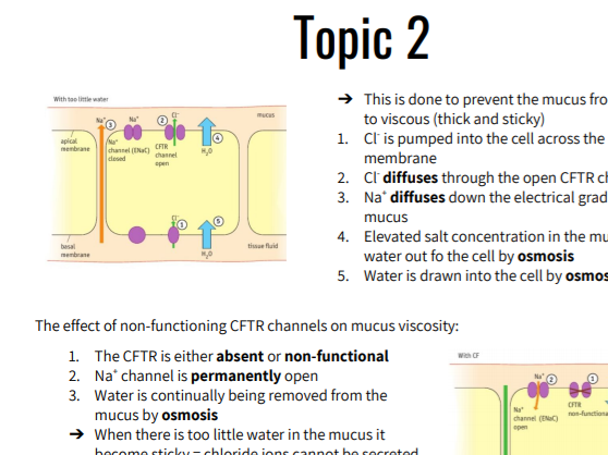 A Level Edexcel Biology SNAB A Topic 2 Revision