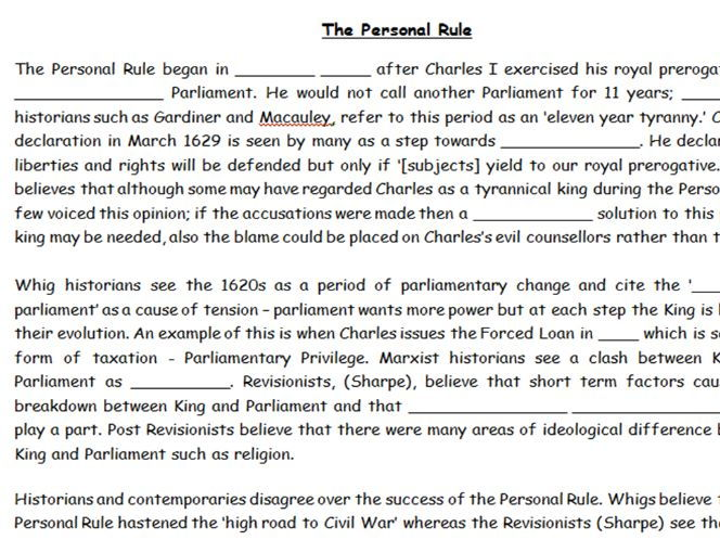 KS5 - Stuart Britain - Charles I's Personal Rule Overview Booklet