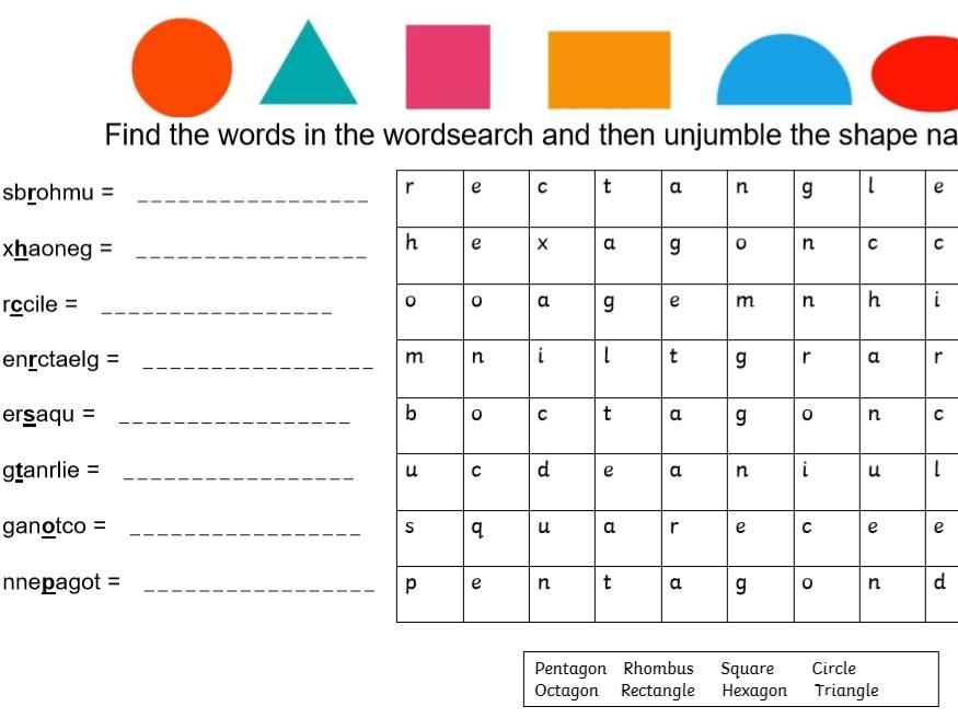2D Shape Names Fun Activities Worksheet KS1 KS2
