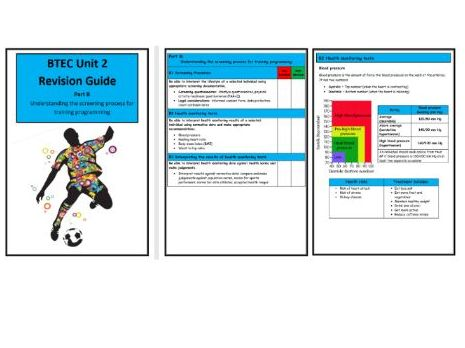 BTEC Level 3- Unit 2 - Revision Notes/Guide  - Part B Screening Processes for Training Programming