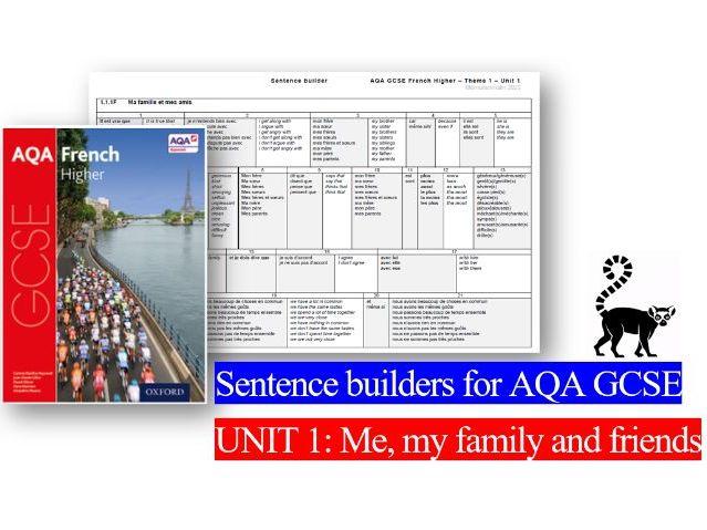 Sentence builders - AQA GCSE UNIT 1