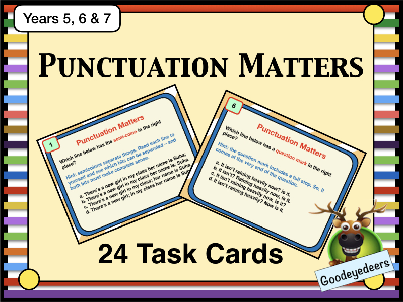 24 Task Cards - Punctuation Matters