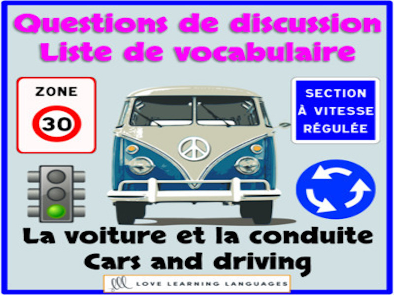 La voiture - Cars and driving - French themed conversation questions