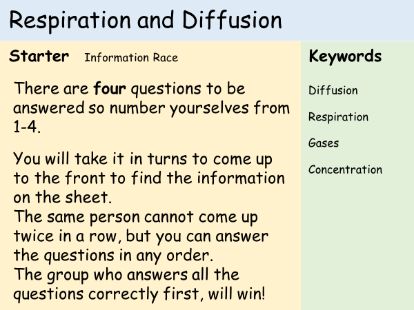 KS3 Cells - Lesson 9&10 - Respiration & Diffusion