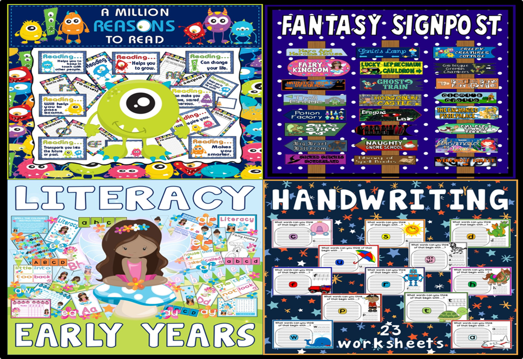 *BUNDLE* LITERACY FOR EARLY YEARS RESOURCES - READING, FANTASY DISPLAY, HANDWRITING, ALPHABET