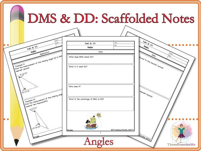 Degrees, Minutes, Seconds (DMS) and Decimal Degrees (DD) Scaffolded Notes