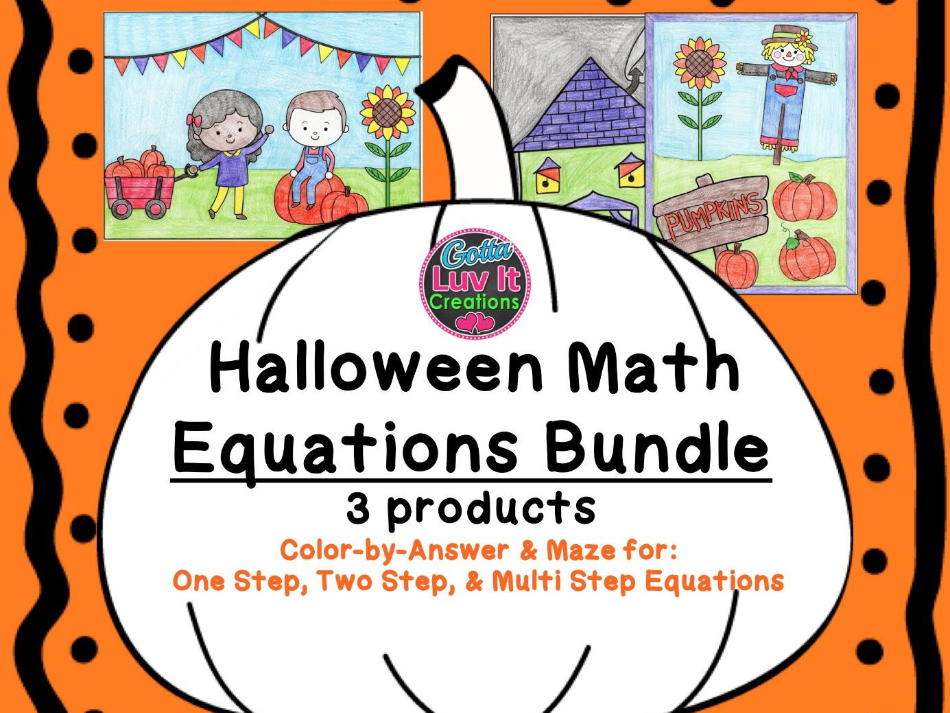 Solving Equations Halloween Fall Equations Maze & Color by Number Coloring Page Super Bundle
