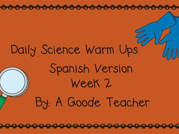 Spanish Daily Science Warm Ups Week 2