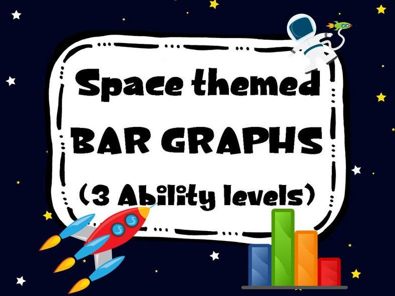 Space themed Bar Graph. Reading and Drawing. 3 Levels