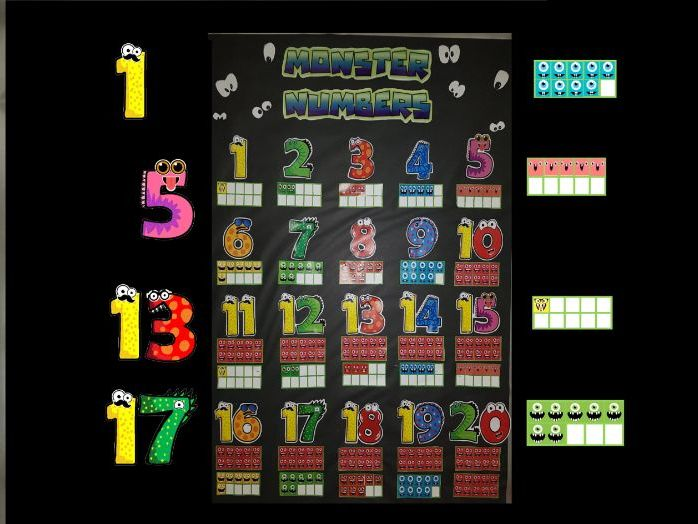 Monster Numbers and 10 Frames. EYFS or KS1 maths, numbers to 20, display or practical resource.