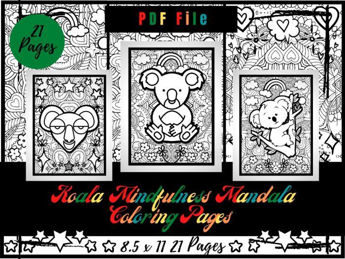 Koala Mindfulness Mandala Colouring Pages, Animals Coloring Printable Sheets PDF