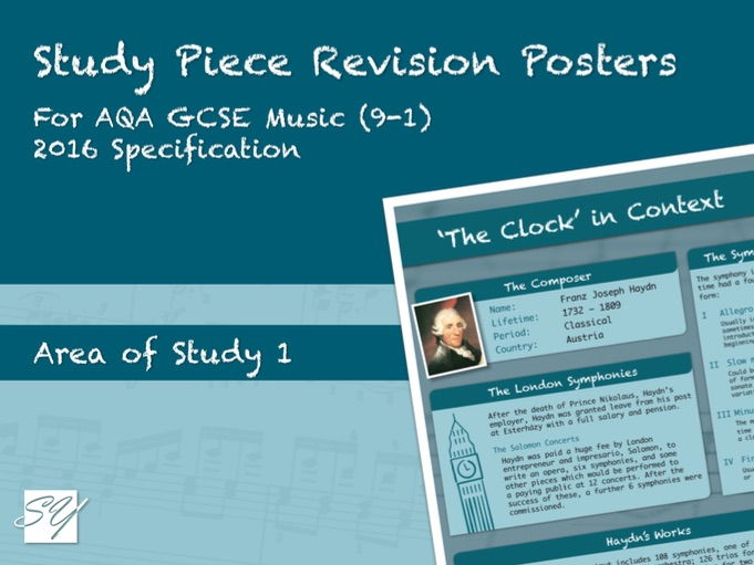 Study Piece Revision Posters for AQA GCSE Music (2016 Specification) - Area of Study 1