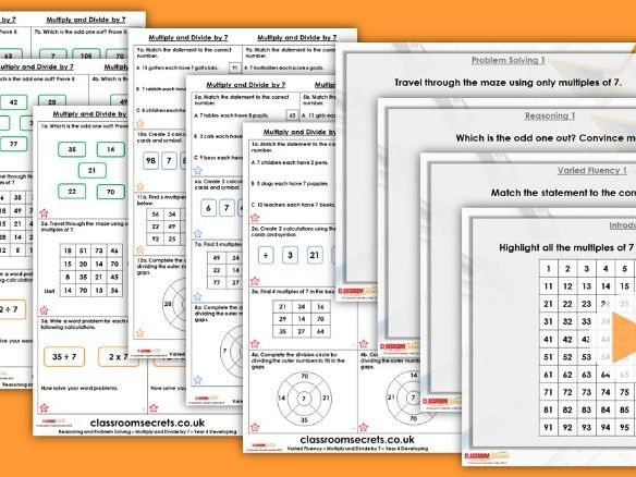 Year 4 Multiply and Divide by 7 Autumn Block 4 Step 11 Lesson Pack