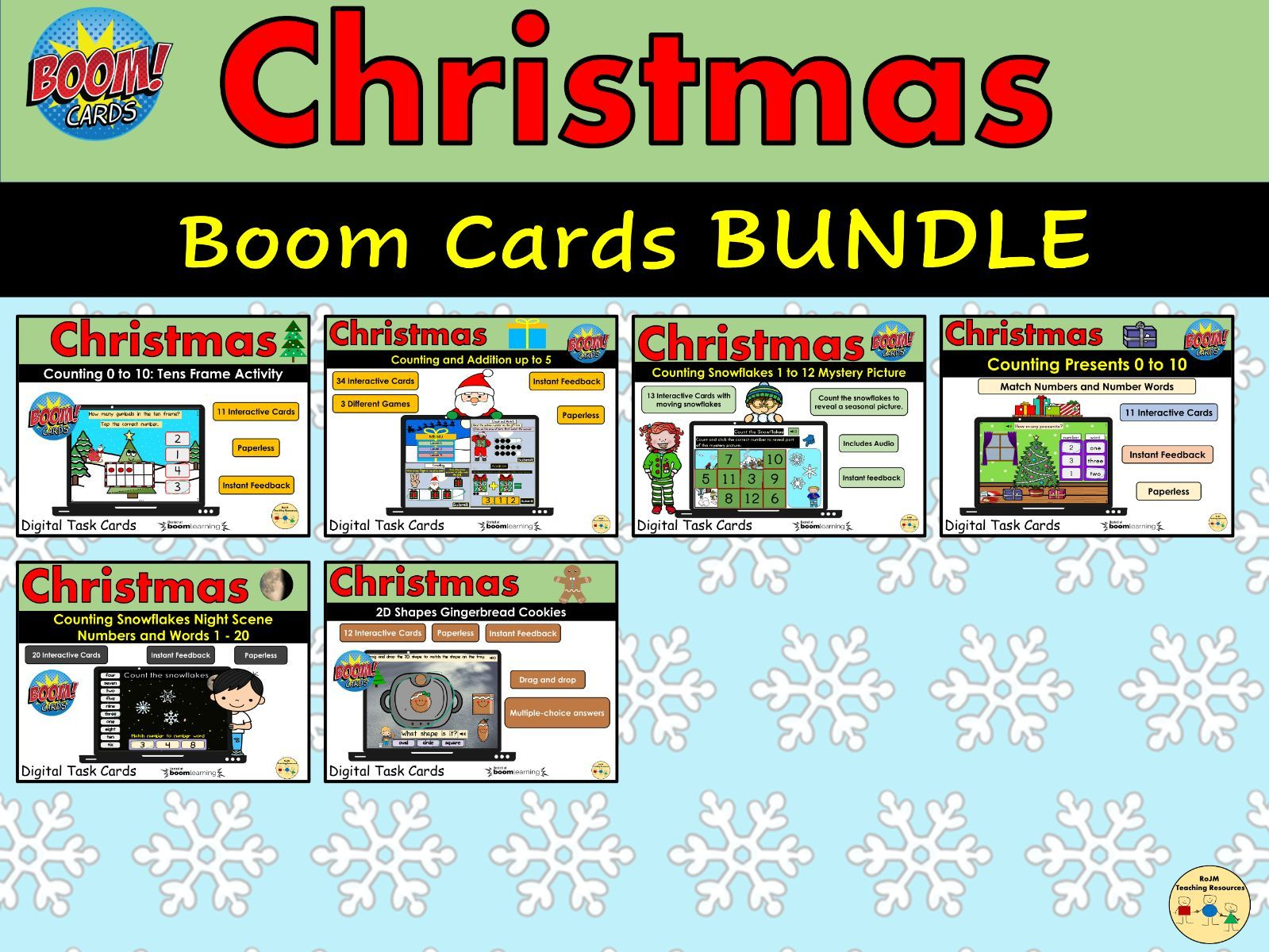 Christmas Maths Bundle BOOM Cards Distance Learning Task Cards