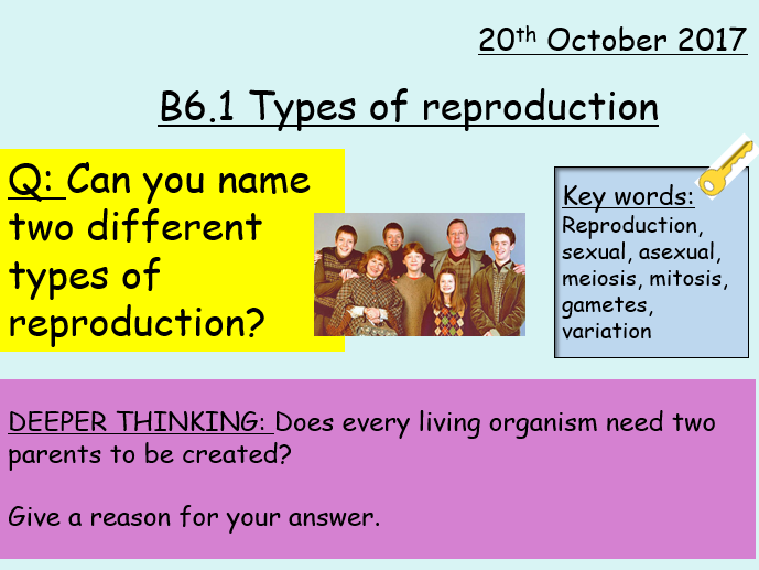 AQA GCSE 9-1 TRILOGY B6.1 Types of Reproduction (mid-high ability) Whole lesson