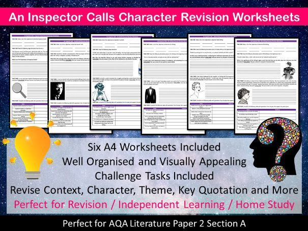 An Inspector Calls Character Revision Worksheets