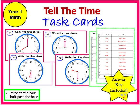 Year 1-Tell the time-Task Cards and Worksheet