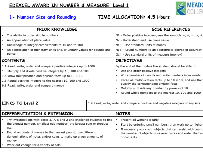 Edexcel Award in Number and Measure Level 1: Scheme of Work and Staff/Student Assessment Trackers
