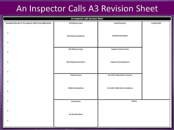 An Inspector Calls A3 Revision Sheet