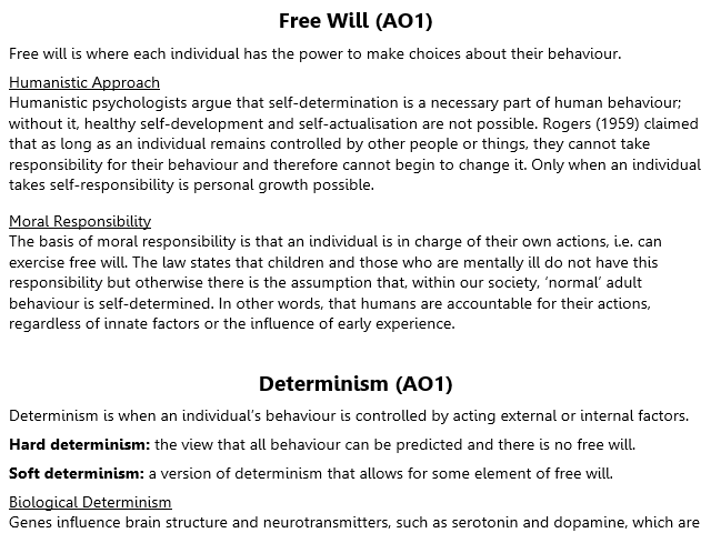 Free Will and Determinism Revision (A2 Psychology)