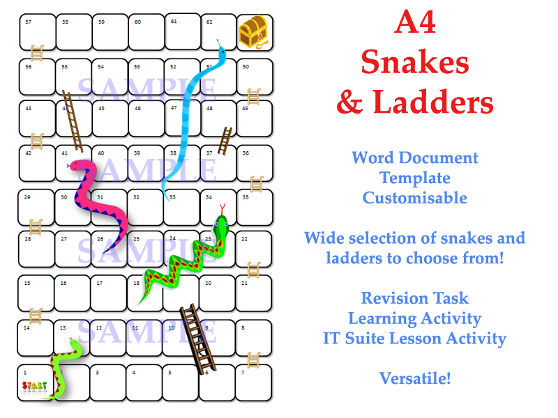 photograph about Snakes and Ladders Printable named Snakes Ladders Template [Board Match, Revision Match, Close of Time period, Entertaining]