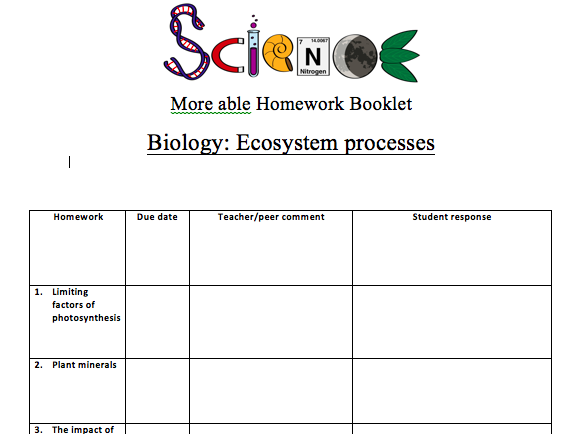 KS3 Homework booklet for Y8 Ecosystems (more able/G&T) ACTIVATE