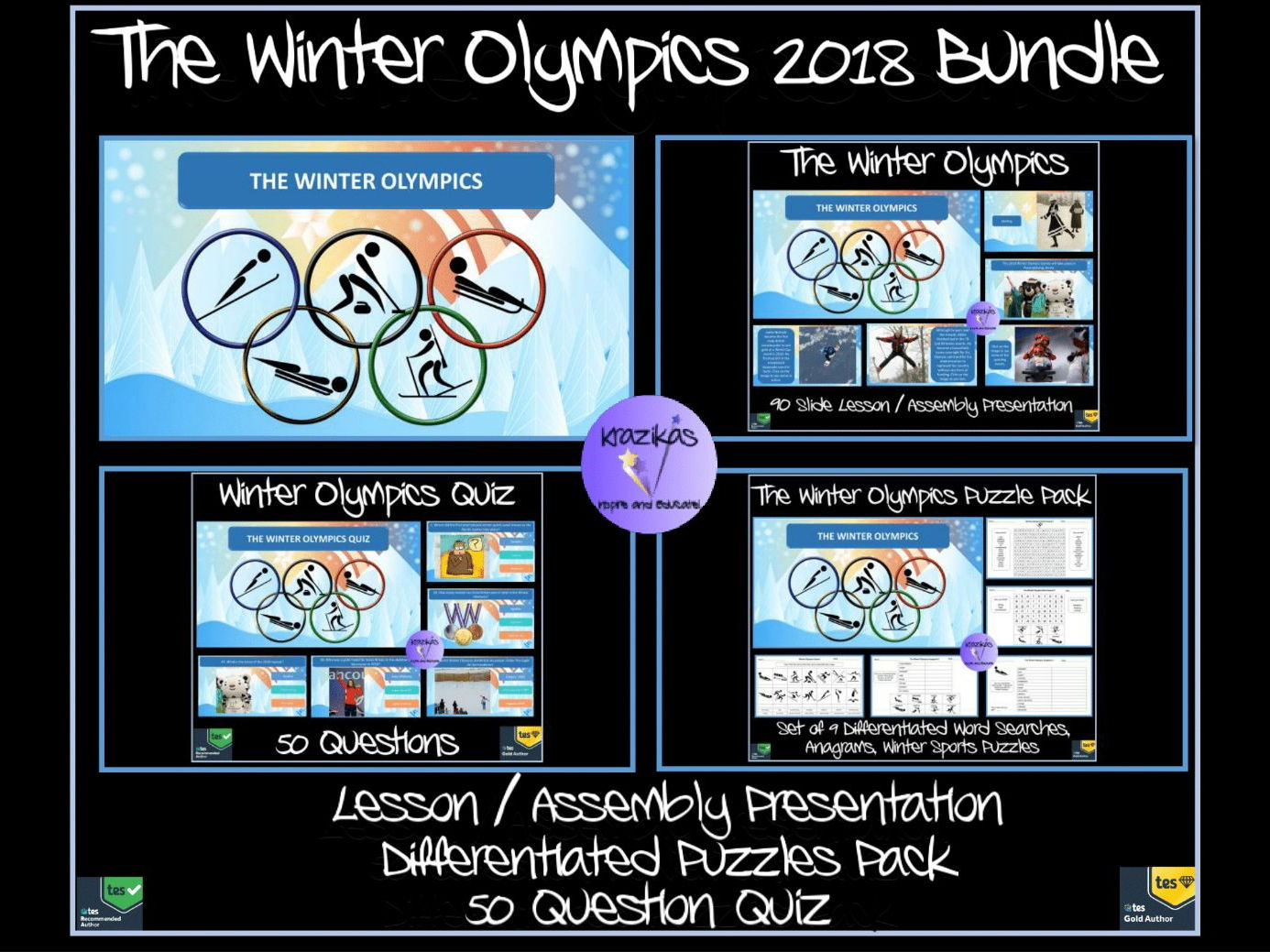 The Winter Olympics 2018 Bundle - Presentation, 50 Question Quiz, Puzzle Pack / Paralympics