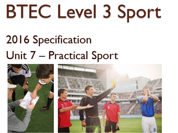 BTEC Level 3 Sport (2016) New Specification Unit 7 Learning Aim A, B, C & D and resources