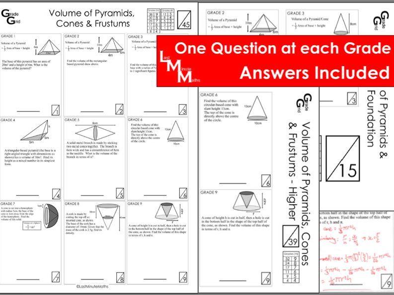 Volume of Cones, Pyramids and Frustums - GCSE Grade Grid