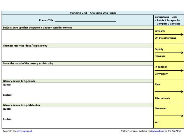 Planning Table For Analysing One Poem