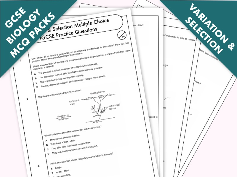 GCSE Biology: Multiple-Choice Topic Question Pack On Variation & Selection