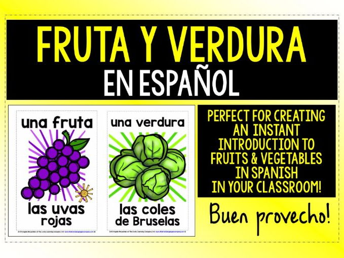SPANISH FRUIT & VEGETABLES - 55 POSTERS / FLASHCARDS