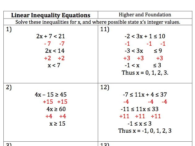 GCSE Maths - 20 Linear Inequality Equations - Worked Answers included