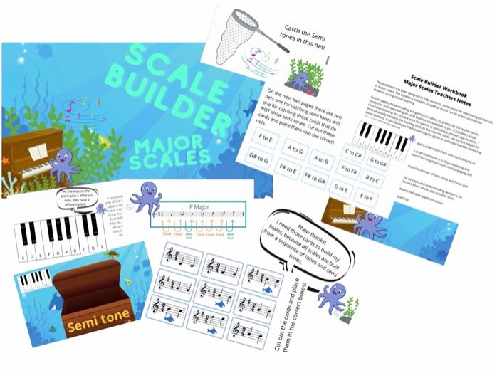 Scale Builder Major Scales Workbook teaching Tool PDF, learn the structure of major scales. Grade 1