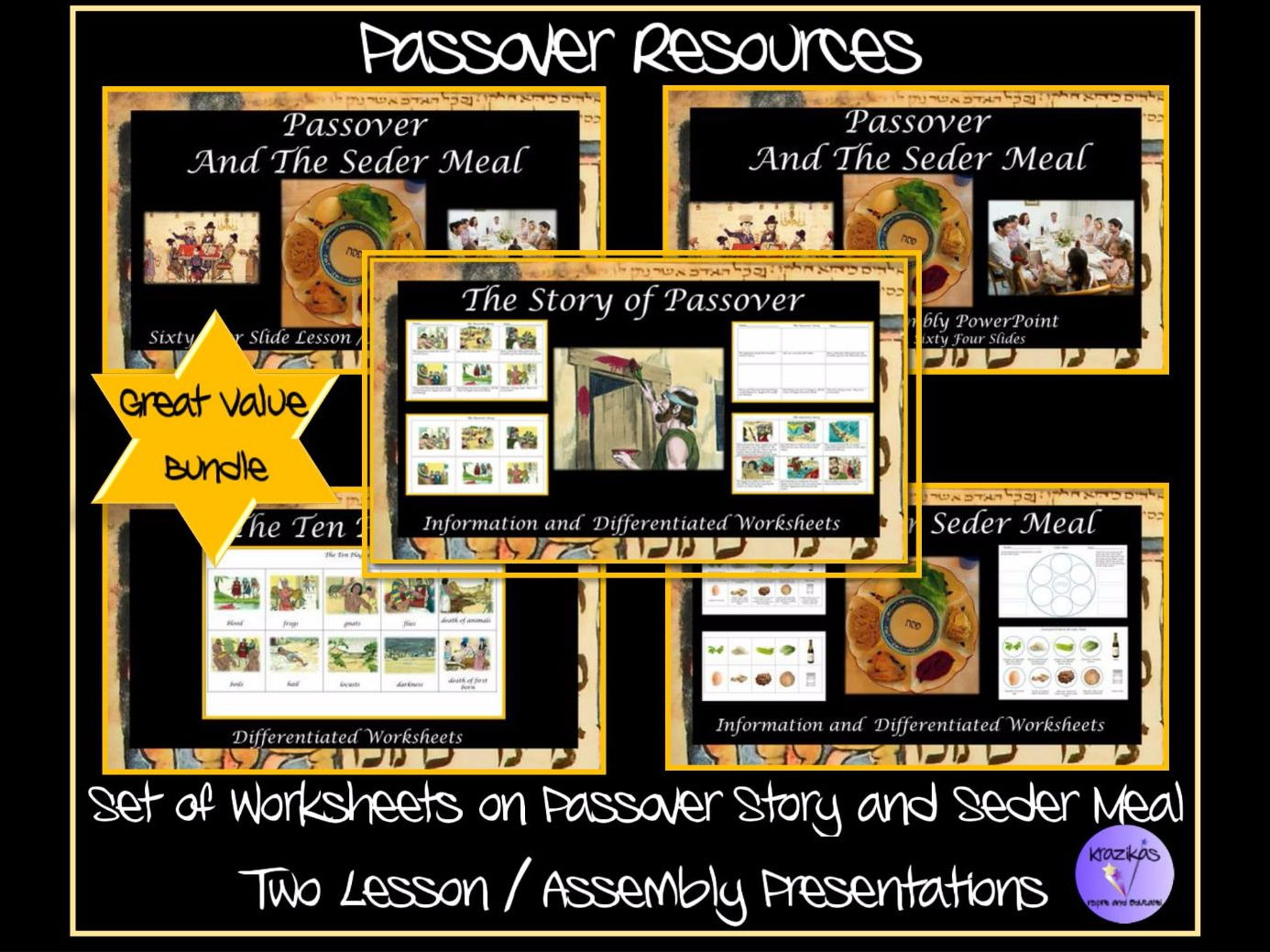 Passover / Pesach:  2 PowerPoint Lessons and Worksheets Bundle