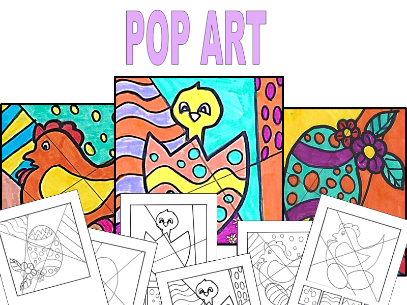 Easter coloring pages and patterns Pop Art