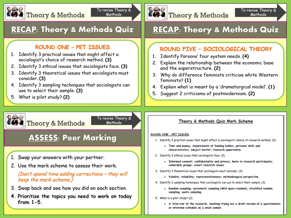 AQA A-level Sociology - Theory and Methods Revision Quiz with Mark Scheme (Incl AS Research Methods)