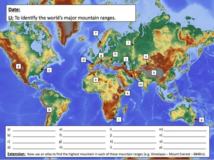 Identifying the world's major mountain ranges