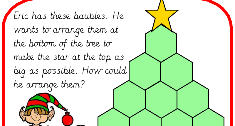 Christmas Tree Addition Puzzle Adding 1 and 2 digit Numbers