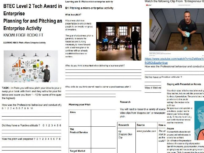 BTEC LEVEL 2 TECH AWARD ENTERPRISE Component 2 Assignment 2  Pitching and Planning for an Enterprise