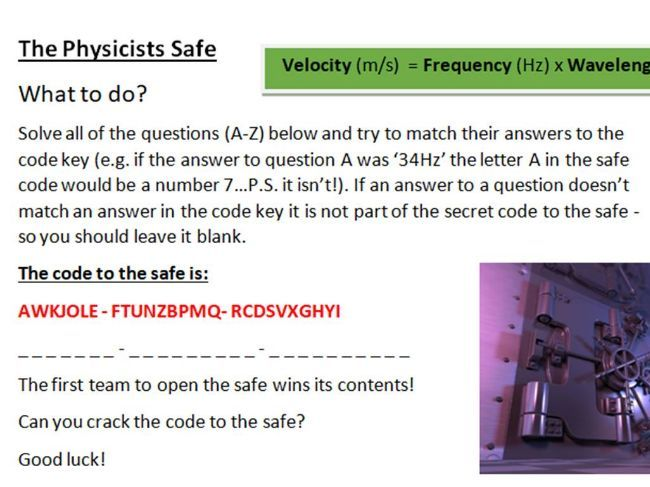 Metacognition and Challenge Task - The Physicists Safe