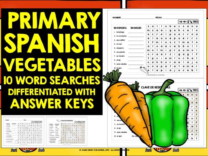 PRIMARY SPANISH VEGETABLES WORD SEARCHES